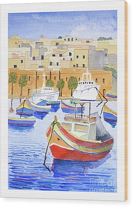Marsaxlokk Harbour Wood Print