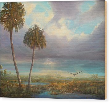 Wood Print featuring the painting Marsh Launch by AnnaJo Vahle