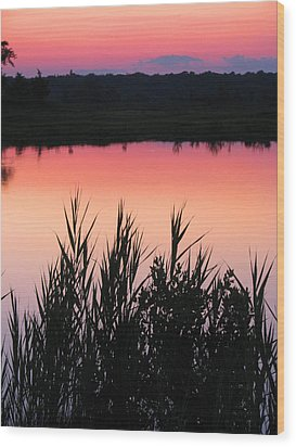 Wood Print featuring the photograph Marsh Sunset by Clara Sue Beym