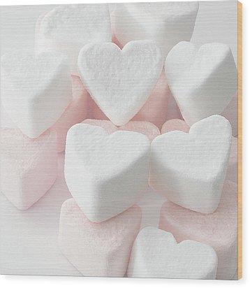 Marshmallow Love Hearts Wood Print by Kim Haddon Photography