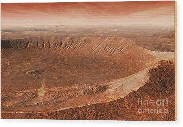 Martian Gullies In Noachis Terra, Mars Wood Print by Steven Hobbs