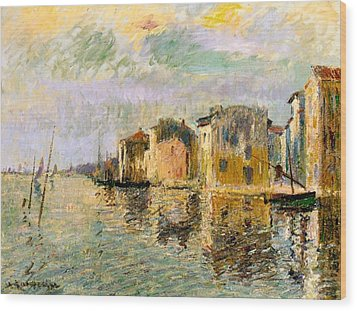 Martigues In The South Of France Wood Print by Gustave Loiseau