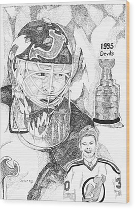 Martin Brodeur Sports Portrait Wood Print by Marty Rice