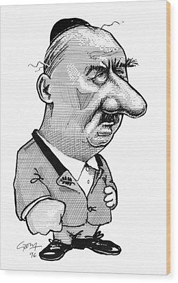Martin Heidegger, Caricature Wood Print by Gary Brown