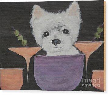 Martini Time Wood Print by Rachel Carmichael