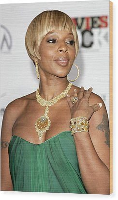 Mary J. Blige At Arrivals For Movies Wood Print by Everett