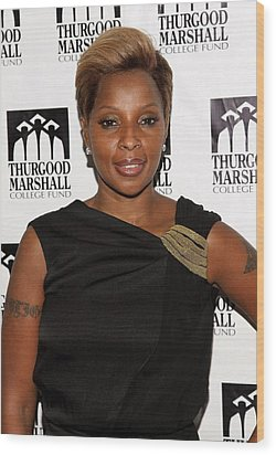 Mary J. Blige At Arrivals For Thurgood Wood Print by Everett