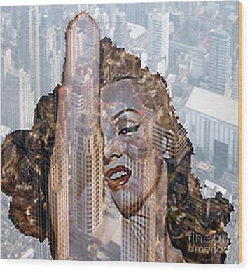 Marylin And City Wood Print