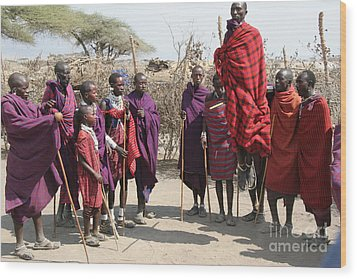 Masai Warriors Jumping Wood Print by Scotts Scapes