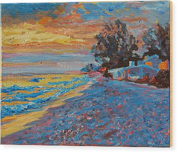 Masasota Key Sunset Wood Print by Thomas Bertram POOLE