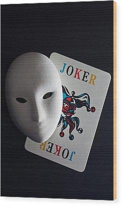 Mask And Joker Wood Print by Kantapong Phatichowwat