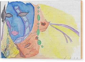 Mask Wood Print by Jona Henshall