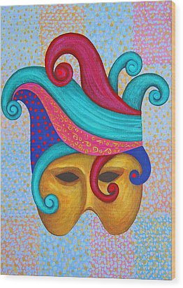 Mask With  Head Dress Wood Print by Nareeta Martin