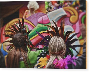 Wood Print featuring the photograph Masked Mardi Gras Women by Jim Albritton
