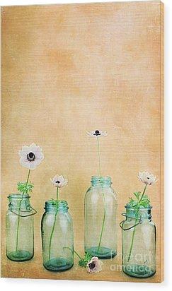 Mason Jars Wood Print by Stephanie Frey