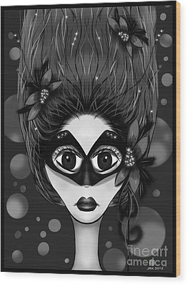 Masquerade Bw Wood Print