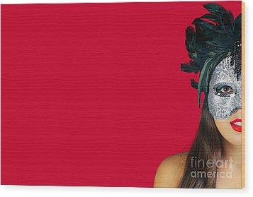Masquerade Mask Red Background Wood Print by Richard Thomas