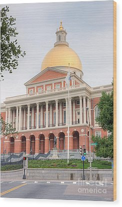 Massachusetts State House I Wood Print by Clarence Holmes