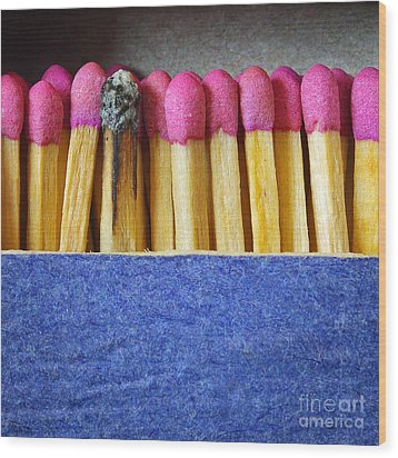 Matchbox Wood Print by Carlos Caetano