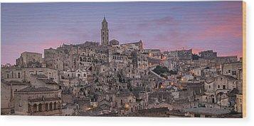 Matera Skyline Wood Print by Michael Avory