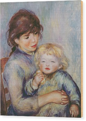 Maternity Or Child With A Biscuit Wood Print by Pierre Auguste Renoir
