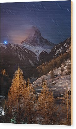 Matterhorn With Star Trail Wood Print by Coolbiere Photograph