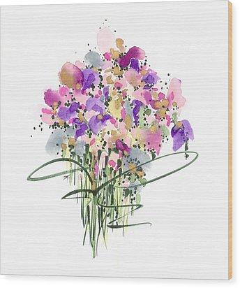 Mauvey Bouquet Wood Print by Darlene Flood