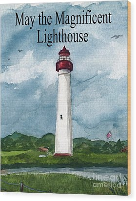 May The Magnificent Lighthouse  Wood Print by Nancy Patterson