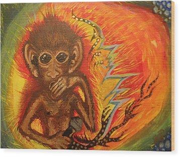 Mc Monkey Wood Print by Zitlalli Rodriguez