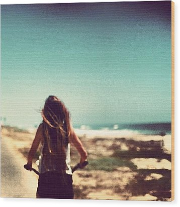 #me #beach #summer #loving #picture Wood Print by Isidora Leyton