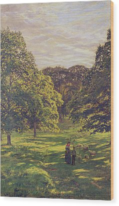 Meadow Scene  Wood Print by John William Buxton Knight