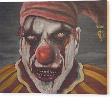 Wood Print featuring the painting Meat Clown by James Guentner