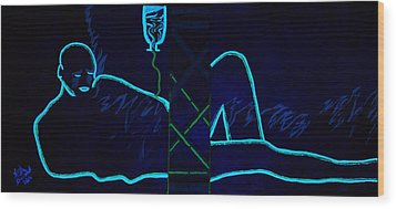 Meausre Of A Man Black Light View Wood Print by Lisa Brandel
