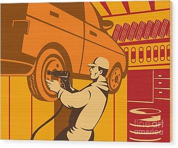 Mechanic Automotive Repairman Retro Wood Print by Aloysius Patrimonio