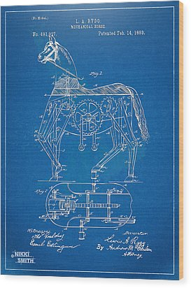 Mechanical Horse Toy Patent Artwork 1893 Wood Print by Nikki Marie Smith