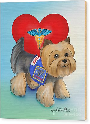 Medical Alert Yorkie Wood Print