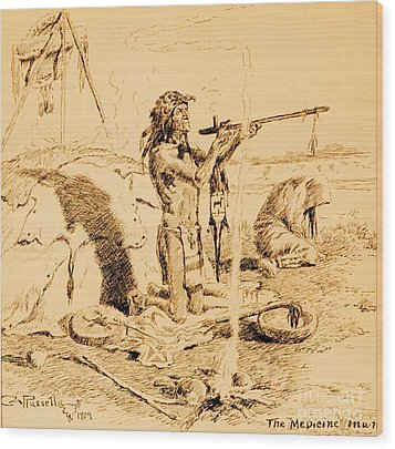 Medicine Man Wood Print by Pg Reproductions