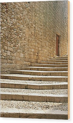 Medieval Stone Steps With One Doorway At The Top. Wood Print by Tracy Packer Photography