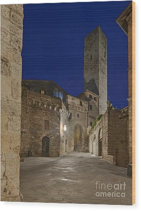Medieval Street At Twilight Wood Print by Rob Tilley