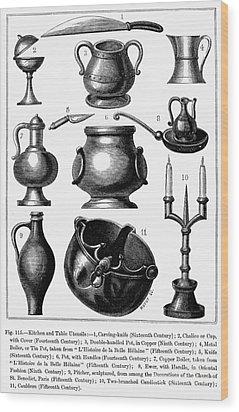 Medieval Utensils Wood Print by Granger