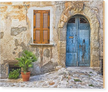 Mediterranean Door Window And Vase Wood Print by Silvia Ganora