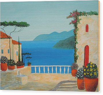 Wood Print featuring the painting Mediterranean Fantasy by Larry Cirigliano