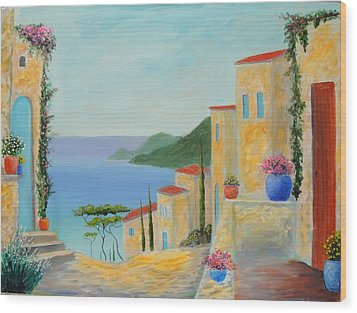 Wood Print featuring the painting Mediterranean Haven by Larry Cirigliano