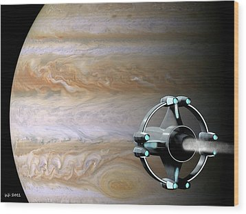 Meeting Jupiter Wood Print