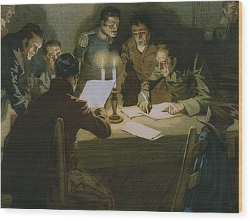 Meeting Of The First Partisans Resisting The Occupiers Wood Print by Italian School