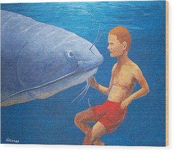 Meeting With The Giant Catfish Wood Print by John Hoesman