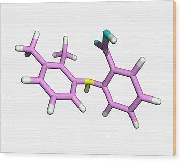 Mefenamic Acid Drug Molecule Wood Print by Dr Tim Evans