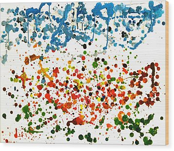 Melted Crayons Colourful Garden Wood Print by Pretchill Smith