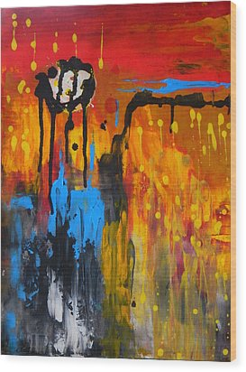 Wood Print featuring the painting Melting Point by Everette McMahan jr