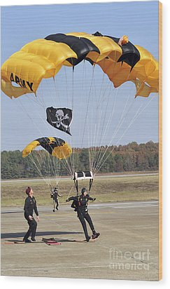 Members Of The Golden Knights Parachute Wood Print by Stocktrek Images